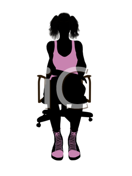 Royalty Free Clipart Image of a Girl in an Office Chair