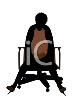 Female african american business executive silhouette on a white background
