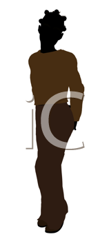 Royalty Free Clipart Image of a Young Girl Standing