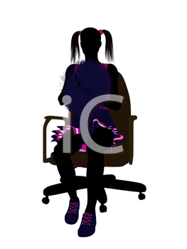 Royalty Free Clipart Image of a Girl With Pompoms Sitting in a Chair