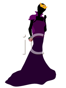Royalty Free Clipart Image of a Queen With an Apple