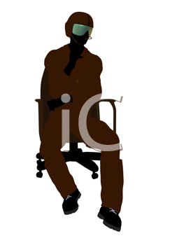 Royalty Free Clipart Image of a Fighter Pilot in a Chair