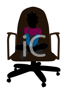 Royalty Free Clipart Image of a Young Girl in an Office Chair