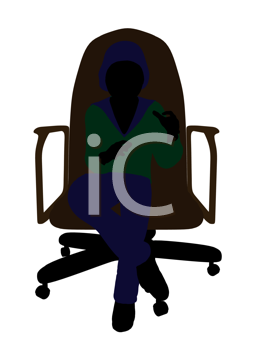 Royalty Free Clipart Image of a Little Girl in a Chair