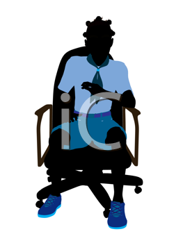 Royalty Free Clipart Image of a Girl Sitting in an Office Chair