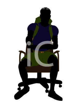 Royalty Free Clipart Image of a Man on an Office Chair