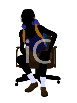 Royalty Free Clipart Image of a Woman Wearing a Backpack Sitting in a Chair