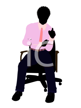 Royalty Free Clipart Image of a Man in a Pink Shirt Sitting in a Chair