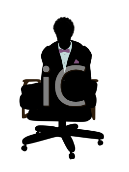 Royalty Free Photo of a Man Wearing a Bow Tie Sitting in a Chair