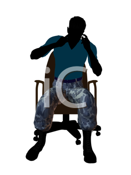 Royalty Free Clipart Image of a Male Soldier in a Chair