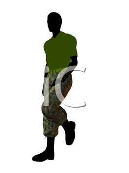 Royalty Free Clipart Image of a Man Wearing Camouflage Pants