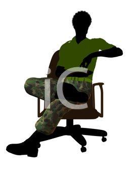 African ameircan soldier sitting on an office chair silhouette on a white background