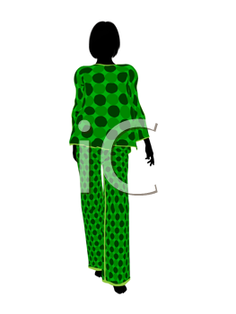 Royalty Free Clipart Image of a Woman in Pyjamas