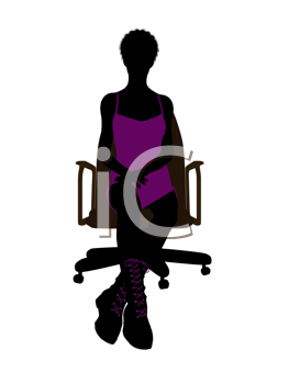 Royalty Free Clipart Image of a Girl in a Purple Dress Sitting in a Chair