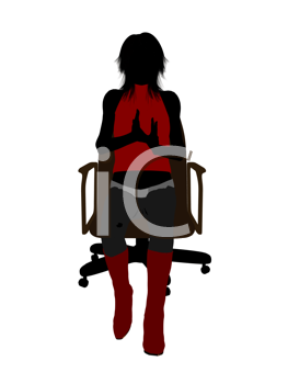 Royalty Free Clipart Image of a Woman Sitting in an Office Chair