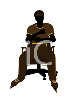 Royalty Free Clipart Image of a Man Wearing Roller Skates Sitting in a Chair