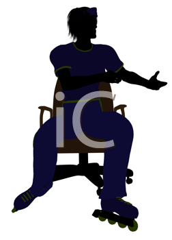 Royalty Free Clipart Image of a Man Wearing Roller Skates Sitting in an Office Chair