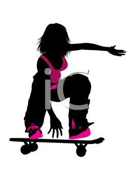 Royalty Free Clipart Image of a Girl Skateboarding