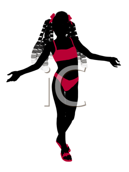 Royalty Free Clipart Image of a Girl in a Bikini