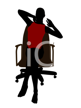 African american wearing a swimsuit sitting in an office chair illustration silhouette on a white background