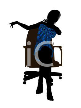 Royalty Free Clipart Image of a Woman in a Bathing Suit Sitting on a Chair