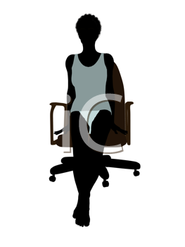 Royalty Free Clipart Image of a Silhouette Woman Sitting in Her Underwear