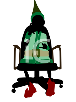 Royalty Free Clipart Image of an Elf in a Chair