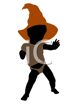 Royalty Free Clipart Image of a Baby in a Witch's Hat