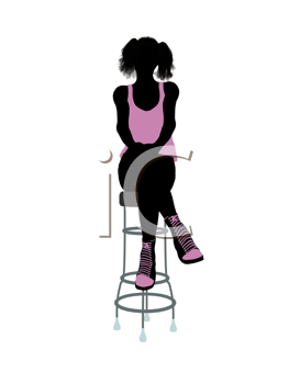 Royalty Free Clipart Image of a Girl on a Stool