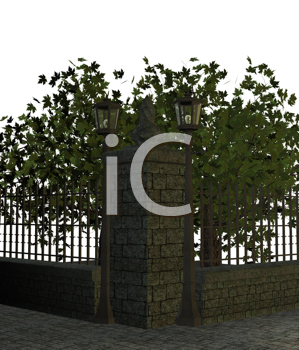 Royalty Free Clipart Image of a Sidewalk With Trees and a Fence