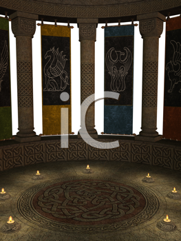 Royalty Free Clipart Image of Candlelit Room With Columns and Banners