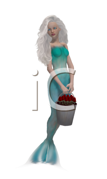 Royalty Free Clipart Image of a Mermaid With a Bucket of Flowers