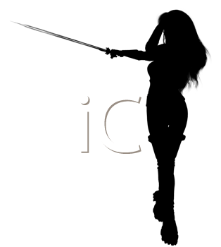Royalty Free Clipart Image of a Warrior Woman Silhouette