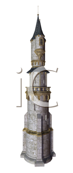 Royalty Free Clipart Image of a Fairytale Castle
