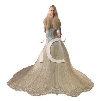cinderella standing in a ball gown on a white background