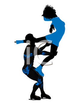 Royalty Free Clipart Image of Figure Skaters