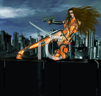 Royalty Free Clipart Image of a Warrior Woman in Front of a City