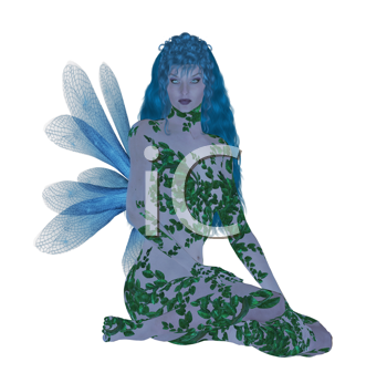 Royalty Free Clipart Image of a Blue Fairy