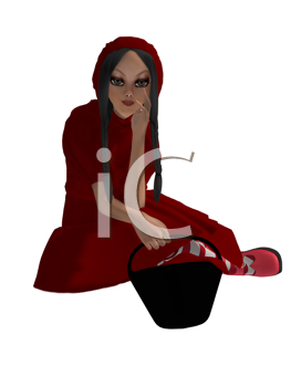 Royalty Free Clipart Image of a Girl in a Red Hood