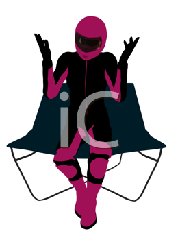 Royalty Free Clipart Image of a Female Motorcyclist in a Lounge Chair