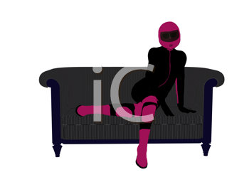 Royalty Free Clipart Image of a Female Motorcyclist on a Couch