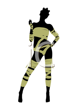 Royalty Free Clipart Image of a Woman Wrapped Like a Mummy