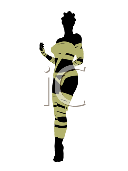 African american female mummy silhouette illustration on a white background
