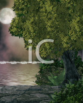 Royalty Free Clipart Image of a Forest and Water