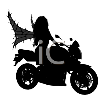 Royalty Free Clipart Image of a Fairy on a Motorcycle