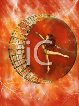 Royalty Free Clipart Image of a Woman Dancing in a Metallic Circle