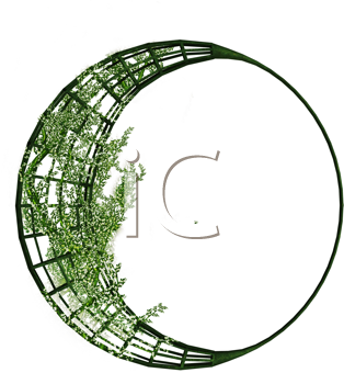 Royalty Free Clipart Image of a Vine Wrapped in a Crescent