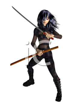 Royalty Free Clipart Image of a Girl With a Sword