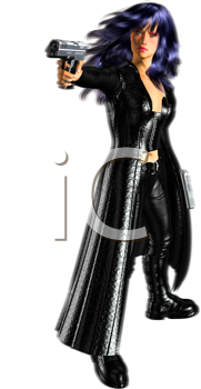Royalty Free Clipart Image of a Woman Standing and Holding a Gun