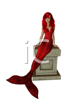 Royalty Free Clipart Image of a Mermaid on a Pedestal